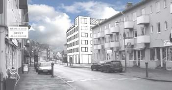 Herkulesgatan mot sydväst. Den nya fastigheten på Tunnbindaregatan är inritad i bilden. Bild: Lego Arkitektur