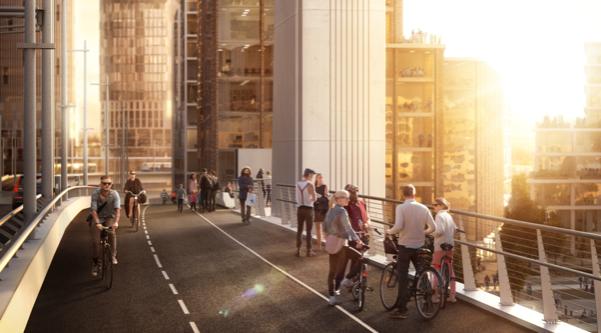 Bild visar en skiss av nya Hisingsbron